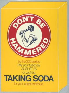Poster features a baking soda image with text about paying tuition on time.