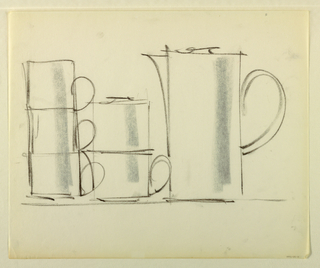 Drawing, Stackable coffee set: cof