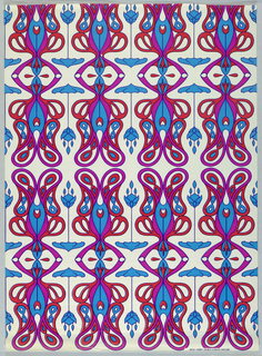 Decorative paper design, pattern with motifs derived from Art Nouveau repeated in red, blue, and violet on white background.