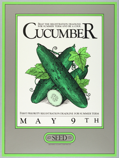 Image of three cucumbers with information about registering for classes.