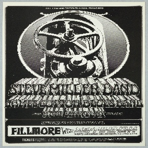 Poster featuring a black and white photograph of gauges. Text in black and white: BILL GRAHAM PRESENTS IN SAN FRANCISCO STEVE MILLER BAND / JAMES COTTON BLUES BAND [ticket information below].