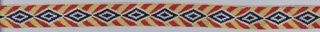 Livery band of the Teding van Berkhout family of the Netherlands. Blue and white diamonds on red and yellow chevron stripes.