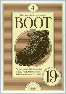 Image of a dark brown boot on a ground of light brown horizontal stripes; information about registration.