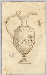 Pitcher on a foot, the spout on the right. Below the handle, a mask. Decorating the body at right, floral decoration.