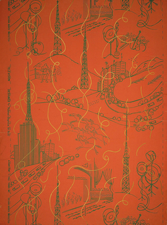 Television cameras and towers among entertainment motifs printed in deep green. Streamers or airwaves printed in metallic gold.