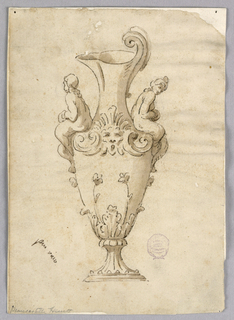 An ewer, spout facing left. A mermaid sits on either side with a mask at center.  Acanthus leaves and flowers at bottom.