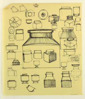 Drawing, Studies of jars and bottl