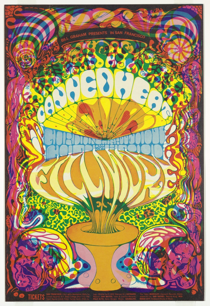 """Lithograph poster for 1968 concert in San Francisco, featuring Canned Heat, Gordon Lightfoot, and Cold Blood.  Border of swirling, interconnected figures, faces, breasts and curlicues in pink, yellow, purple, red, black. Text seems to grow out of an orange-and pink urn at the bottom of the page in a mushroom-like form.   Central block of text in stylized, distorted letters:  Canned Heat Gordon Lightfoot Cold Blood Fillmore West  Surrounding """"Fillmore West"""" appears to be a background growing out of the border chaos, but is actually stylized green text on yellow:  Thurs Fri Sat. Oct 3 4 5 (lower left) Lights by Holy See (lower right)  Black banner along top edge with red text: Bill Graham Presents in San Francisco; block of text along bottom edge with ticket locations."""