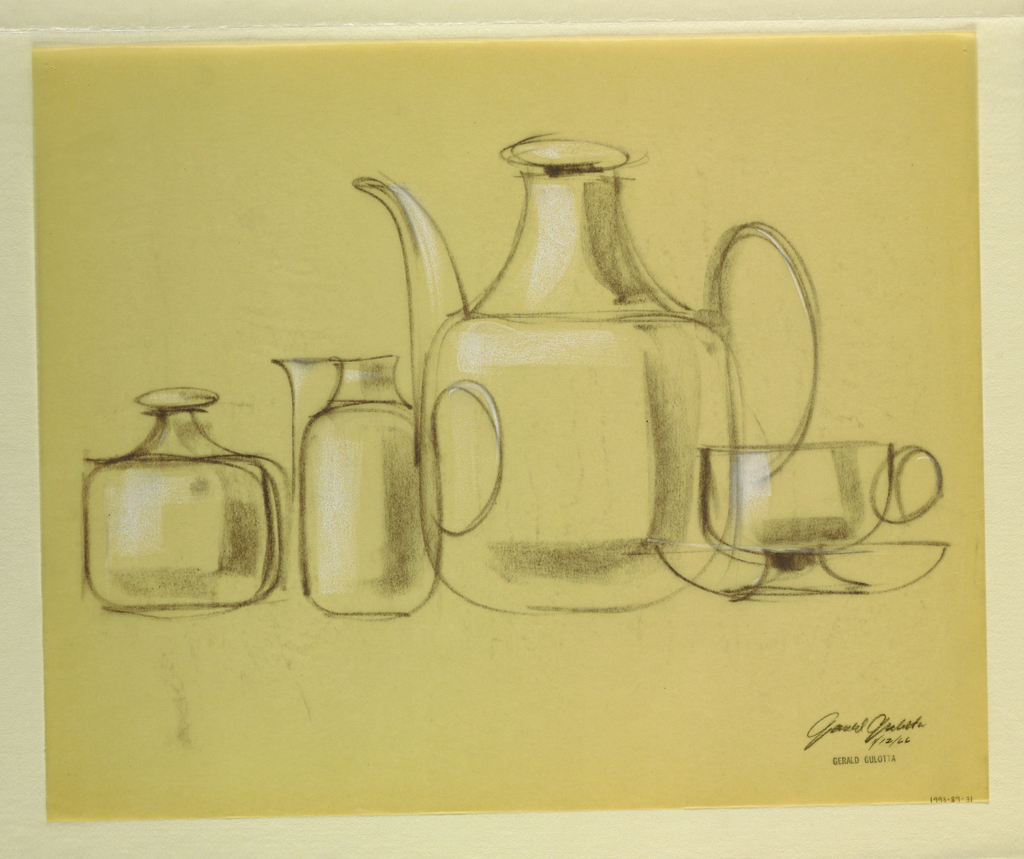 Drawing, Coffee pot, sugar bowl, c, 1966