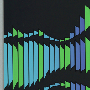 On a black ground, colorful sound waves across poster.