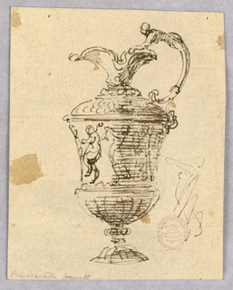 Elevation of an ewer, the spout facing left. Volute handle decorated with the upper body of a woman. Frieze of dancing figures. Loose sketch of a figure at right.