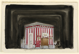 Horizontal rectangle. A corner of the room, only, shown. An open suitcase on a stand, a highboy and wing chair, upholstered in red, center. Red and white striped wallpaper.