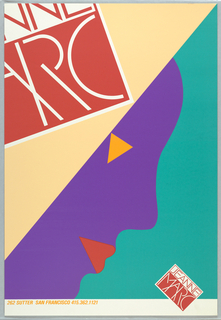 Poster featuring abstract profile of woman's face in deep blue with yellow triangle for eye and red lips; only part of her face is visible. Diagonal line crosses entire poster and above is cream color and below is turquoise. Jeanne Marc logo cropped and large on cream and small on turquoise.  Imprinted in yellow, lower margin: 262 SUTTER SAN FRANCISCO 415.362.1121.