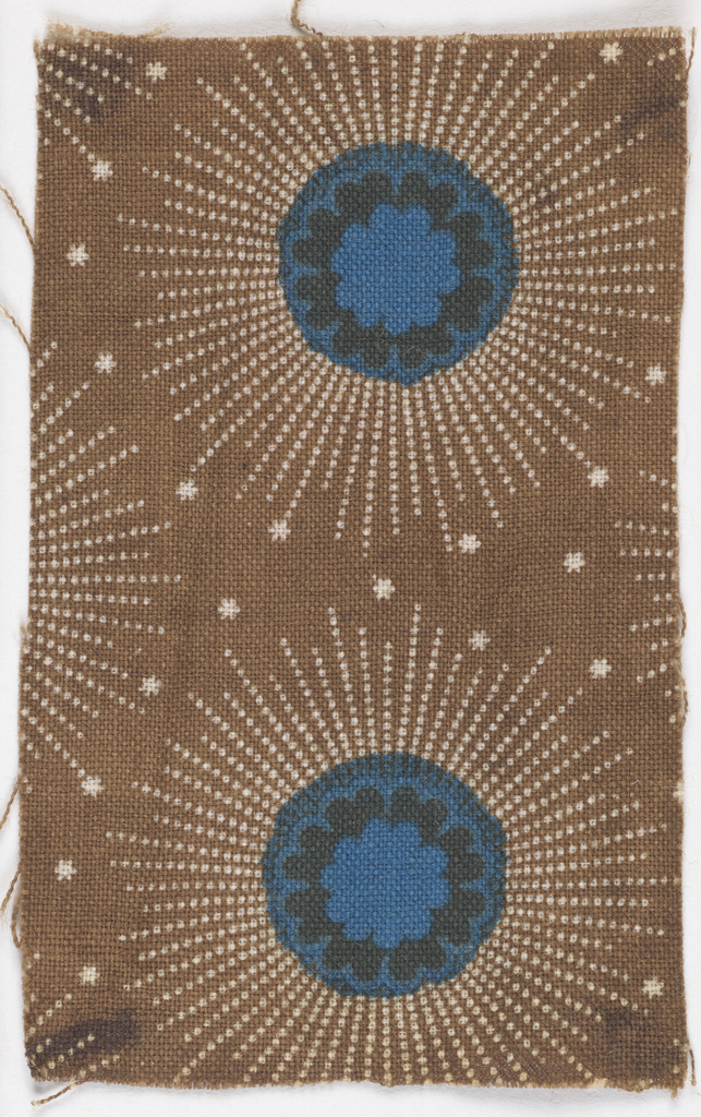 Curcular shapes with blue and black centers and white dotted rays ending with stars on a brown background.