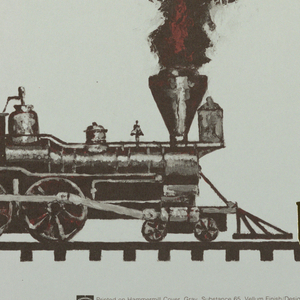Two train engines facing each other with thick black and red smoke filling the upper half of the poster. Above, in white and red: May [numbers in red, and some in white].