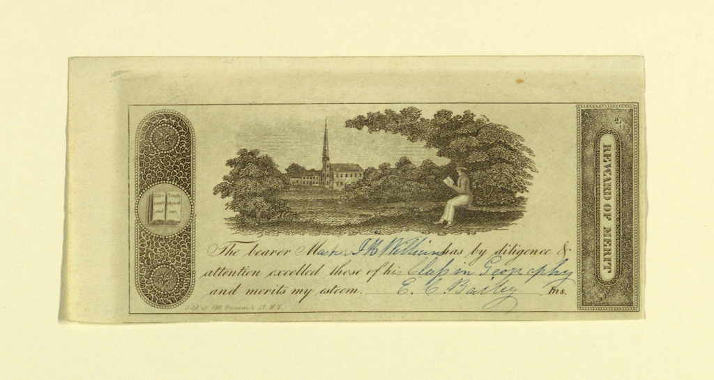engraving, certificate of commendation by an unknown artist, a small vignette showing a student sitting in a landscape.