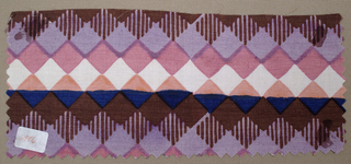 Geometric diamond pattern, in dark brown, gray, blue, peach, pink and ivory.