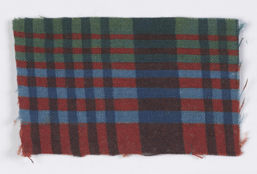 Plaid in green, two blues and red.
