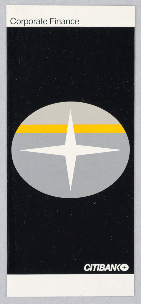 Long, vertical page split into three registers. Top register is thin white strip. Bottom register is identical to top without text. Central register contains central citibank logo against black ground. Logo depicts four-pointed star within horizontal oval. Oval's top third is light gray with thick yellow line underneath. Bottom two thirds is medium gray. In middle register, directly above right side of bottom register is Citibank logotype and logo rendered in white caps.