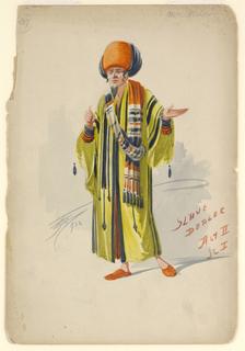 Drawing, Costume Design: Slave Dealer, Act II, Scene 1