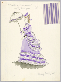 Vertical rectangle. Woman in violet and white founced dress holding white parasol in right hand. Swatch of striped fabric attached.