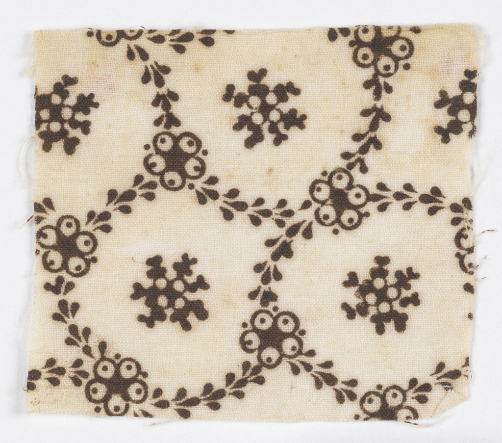 Circles made of vines with five-lobed flower shapes. Snowflake-like shape in the center of each circle. In brown on white.