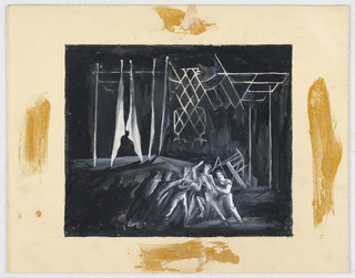 Horizontal rectangle. Group of figures attacking another with sticks. Abstract construction at rear. Colors: black and white.