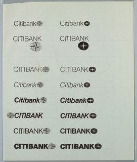 The poster design is a calendar of events (lectures and exhibitions) sponsored by the Columbia Graduate School of Architecture for the years 1975-76. It is printed in silver, blue and green with a large purple arrow pointing to the upper right corner   Two columns containing 8 different iterations of Citibank logo/logotype combinations. Logotype is rendered in sans-serif font with various font weights, sizes, use of italics and caps. Logos depict various iterations of star-in-circle theme.