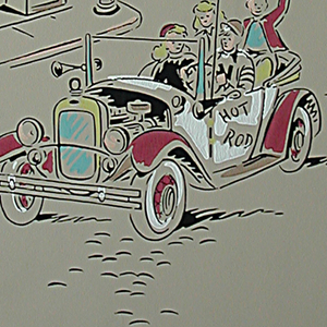 Children or teens' paper. Scenes of teenagers driving cars, playing records, or building in red, turquoise, orange, and white on beige ground.