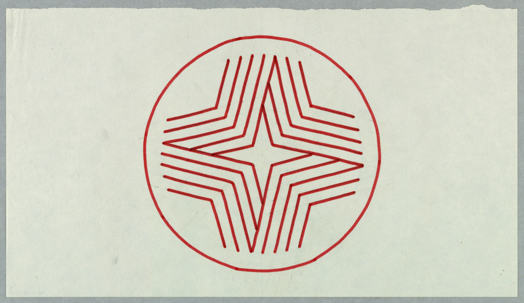Cirlce, outlined in thin red line, enclosing four-pointed star shape created by four groupings of bent red lines. Groupings, arranged to create illusion of a folded ribbon, create a four-pointed star shape within their negative space.