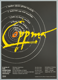 On black ground, consecutive circles in white with text and yellow signature: Coppma (?); blocks of white text lower margin: A series of / FIVE / EXHIBITIONS / mostly about / Astronomy / IBM [logo]…etc.