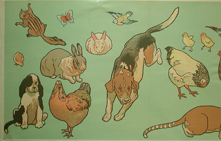 Animals outlined with thick black line. Farm and domestic animals, including dogs, chickens, rabbits, bird and chipmunk or squirrel. Printed in colors on a green ground. The paper could be applied as is forming a frieze or the animals could be cut out and pasted to the wall or pinned to a fabric wallcoverings.