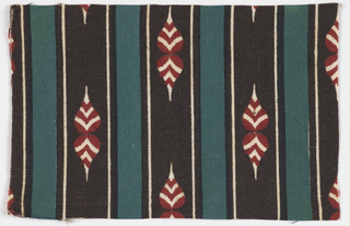 Stripes of brown,white and green with red and white shapes on brown stripe.