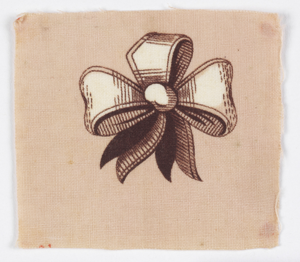 Bow with three loops and two streamers in brown on white. Pink blotch background.