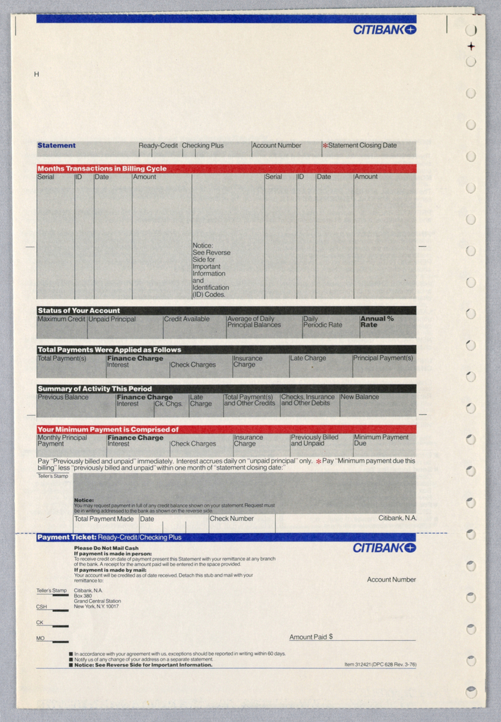 Citibank ready credit checking statement and payment form, printed twice horizontally. Citibank logo in blue at top right with blue line above. Below grey box with black text subdivided into five different registers for different information. Top and bottom registers have orange heading bar, middle three have black. At bottom removable payment ticket with black text withCitibank logo in blue at top right with blue line above.
