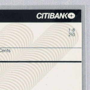 """Design is split into roughly five horizontal lines/registers that running length of page. Top line consists of white text against black background. On left of top line is the text """"Cashier's Check. On right, the Citibank logotype and logo. Second line contains, on left, the check number and, on right, adress information and in fraction form, """"1-8/210."""" Third line contains space for writing above date, pay, dollars, and cents sections. The below line contains a line for writing above """"Pay to the order of"""" text. Page bottom contains final two lines, the uppermost a signature line. Below left is check routing number. Printed behind document information is light gray rendering of five rows of Citibank logos that stream diagonally down from upper right."""