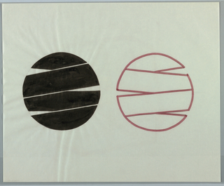 Two logo drawings, each depicting circular form created by four thin strips, reminiscent of folded ribbon. In left design, shapes are filled in with black ink. In right design, a 180-degree flip of the left, segments are left white and outlined in thin red line.