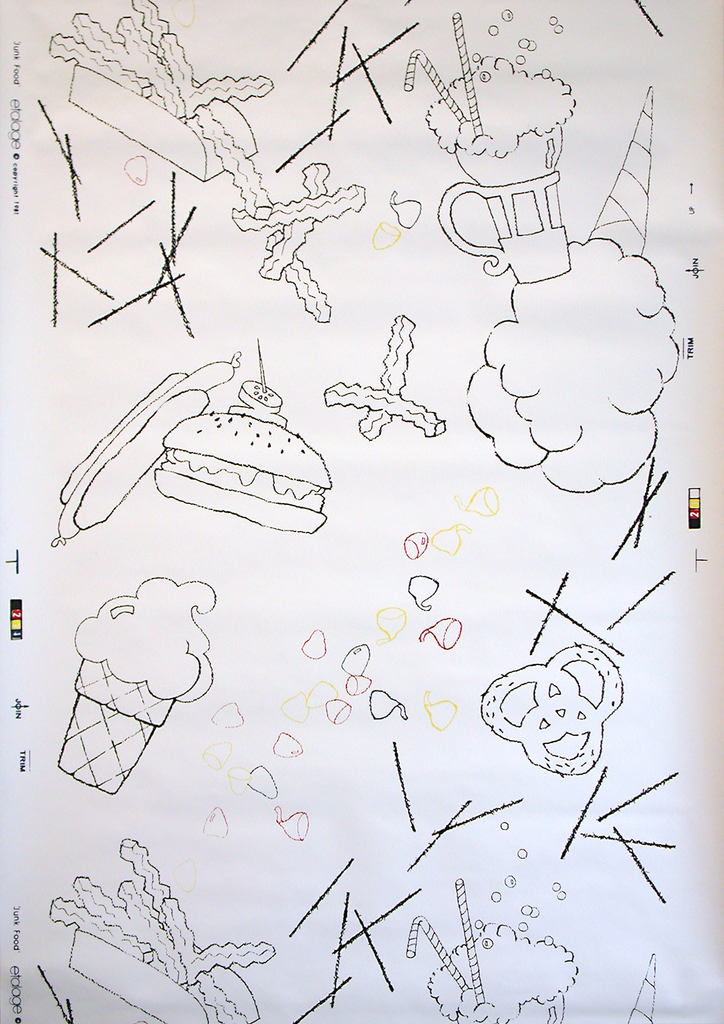 """Depictions of """"junk food"""": including hamburger, hot dogs, milk shakes, pretzels, etc. in black outline, with chocolate """"Kisses"""" in red, blue and yellow outline. Printed on white ground. Children's or teens wallpaper."""