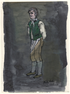 Vertical rectangle. Man (Mickey Malloy) in white shirt, apron, green vest.