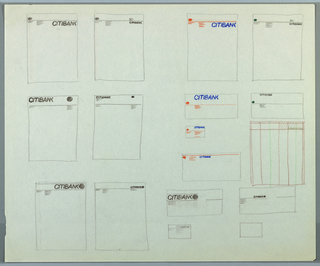 Sketch depicting 16 designs of various pieces of Citibank stationery. Contains designs for 8 pieces of letterhead, 4 envelopes, 3 business cards, and 1 bank statement. 12 sketches are rendered in graphite, remaining 4 in graphite with blue and orange color pencil. Each design contains slight variations in placement of logo and other information.