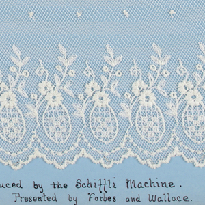 """Samples of machine-made openwork and several examples of hand made lace mounted on boards. They imitate hand-embroidered net, crochet, or needlepoint.  All are floral patterns plus a few of early 1920's geometric style. """"Embroidered net"""" produced by the Schiffli Machine."""