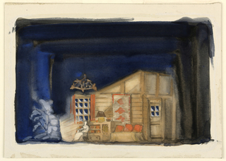 Horizontal rectangle. The interior of a rustic camp. At the left, a figure is seated near a blazing fireplace.