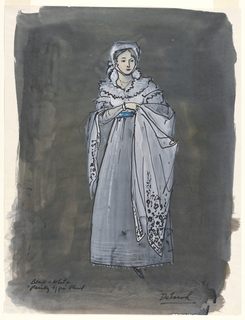 Vertical rectangle. Woman (Deborah) in gray dress with shawl, blue belt.