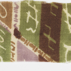 Broken stripes of lavendar, green dark brown and medium brown with shapes in the stripes on white.