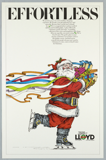 On white ground, drawing of a Santa Claus skating holding colorful gifts with ribbons. Above in black: EFFORTLESS, and block text below. Lloyd logo in lower right.
