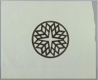Cirlce, outlined in black, contains four-pointed star shape created by the negative space left by radial grid of diamond forms. Diamonds are grouped into four groups of six radiating diagonally from star's center towards circle's border.