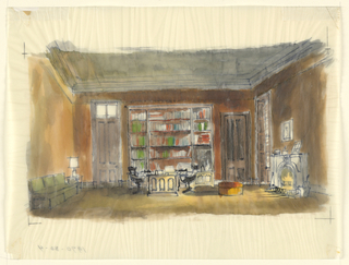 Horizontal rectangle. Library scene, green sofa at left, fireplace at right, bookcases and desk, center.