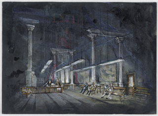 Horizontal rectangle. At left, man seated behind a railing, man standing facing him. At right, figures seated on benches. Columned structures and hanging horizontal lamps.