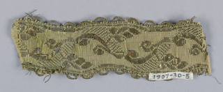 Trimming (galloon) with a design of angular stems and leaves; edges scalloped and ornamented with loops; furnishing trim