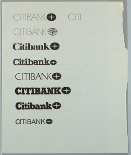 Vertical list of possible combinations of Citibank logotype and logo. List consists of several logo and font choices including thin sans-serif, slab serif, and combinations of caps and lowercase lettering. Right of the uppermost design is what appears to be a partially completed logotype in thin sans-serif font.